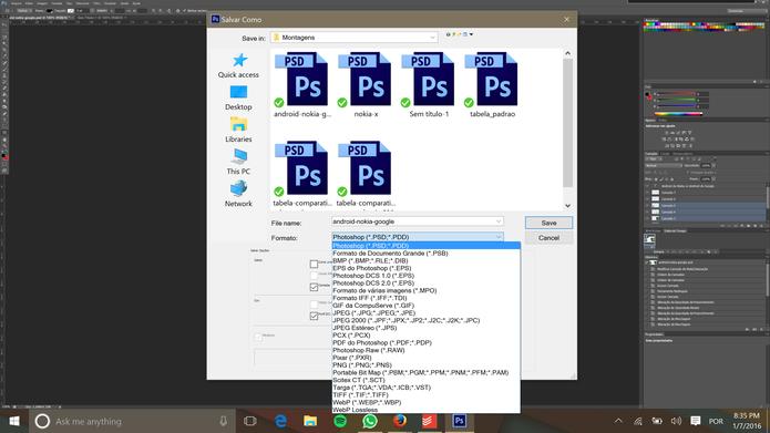 Photoshop tem extensão própria que preserva camadas de um documento (Foto: Reprodução/Elson de Souza)