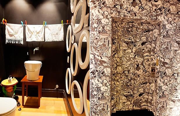 O instigante hall de entrada tem carpete preto, combinado a portas, teto e paredes revestidos de papel do estúdio Mulheres Barbadas | A pintura preta fosca surpreende quem entra no lavabo. Próximo à cuba em forma de balde, da Vallvé, há um varal, com as toalhas de mão. Na parede, composição de espelhos com molduras ovais, garimpadas em lojas de antiguidades (Foto: The Selby)