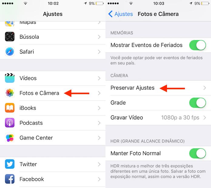 Caminho para acessar a opção que preserva ajustes da câmera do aplicativo de câmera do iPhone (Foto: Reprodução/Marvin Costa)