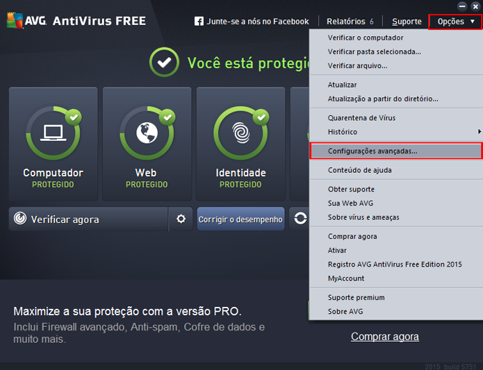 Menu pode ser acessado a partir da barra de opções (Foto: Reprodução/AVG)