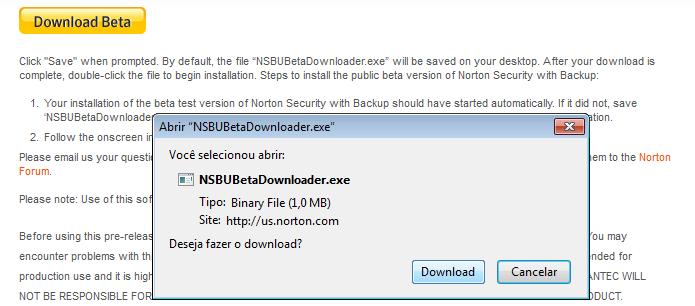 Baixando o beta do Norton (Foto: Reprodução/Edivaldo Brito)