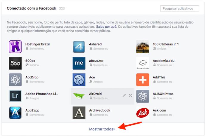 Acesso a todos os aplicativos e serviços vinculados ao Facebook (Foto: Reprodução/Marvin Costa)
