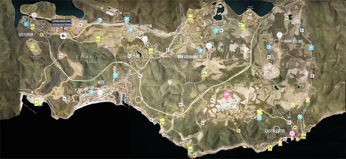 Mapa completo de Forza Horizon 2 exibe zonas rurais da França e Itália (Foto: Gamepur)