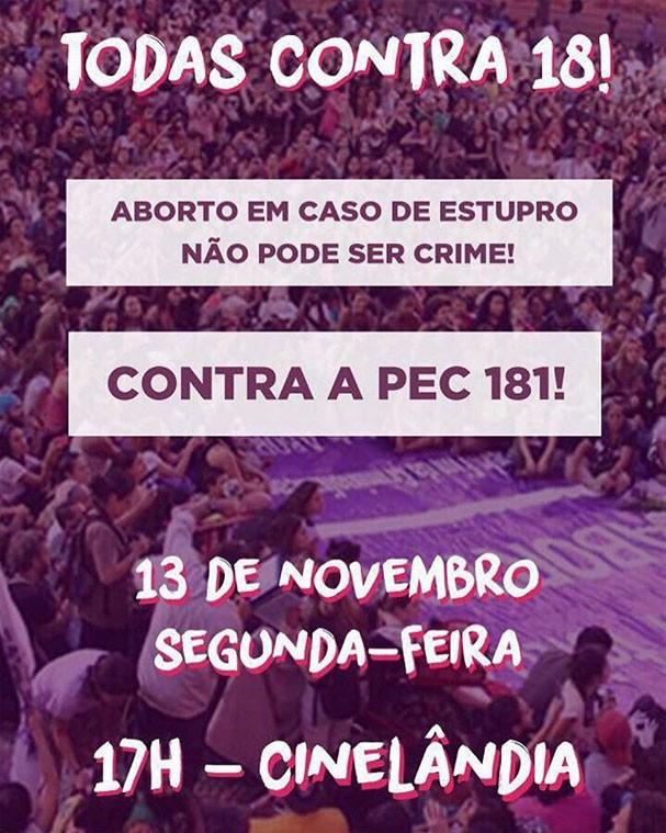 Manifesto contra a PEC 181 (Foto: Reprodução/Instagram)