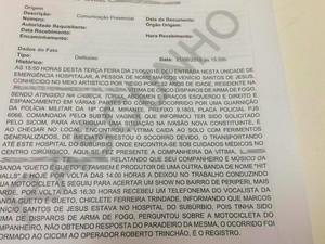 Ocorrência sobre crime contra dançarino (Foto: Juliana Almirante/G1)
