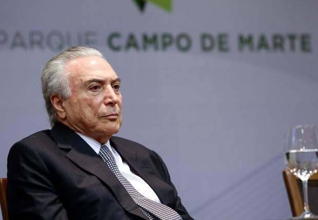 O presidente Michel Temer durante cerimônia de cessão do Campo de Marte em São Paulo (Foto: Alan Santos/PR)