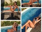 De biquíni, Gracyanne Barbosa faz poses à beira da piscina