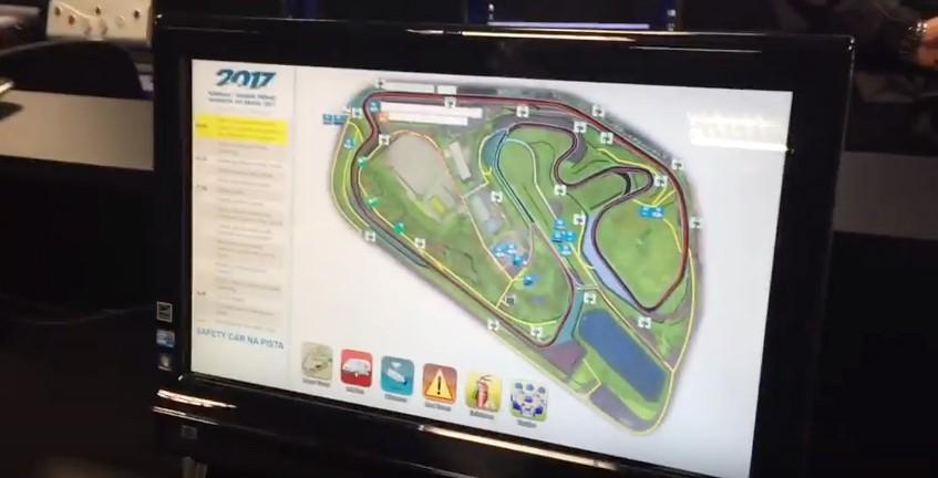 Tela do mapeamento do circuito de Interlagos com todas as informações ao alcance do Diretor de Prova (Foto: Divulgação/Conexão Saloma)