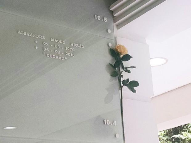 Lápide de Chorão tem flor amarela no Dia de Finados, em Santos (Foto: Rafaella Mendes/G1)