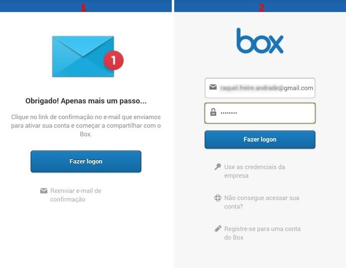Etapa de confirmação de e-mail para conclusão do perfil no Box (Foto: Reprodução/Raquel Freire)