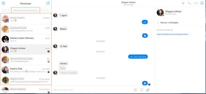 Interface e contatos do Facebook Messenger na Web (Foto: Reprodução/Barbara Mannara)