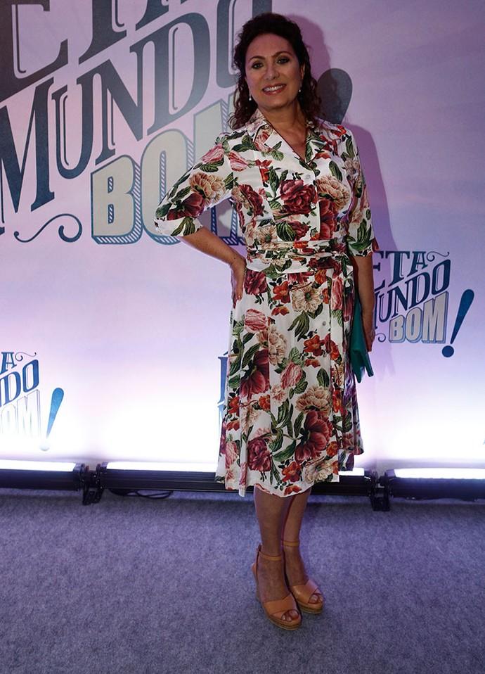 Eliane Giardini: look floral  (Foto: Inácio Moraes / Gshow)