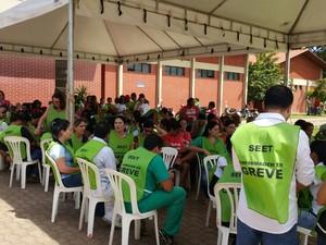 Categoria paralisou as atividades no Hospital Geral de Palmas (Foto: Ana Paula Rehbein/TV Anhanguera)