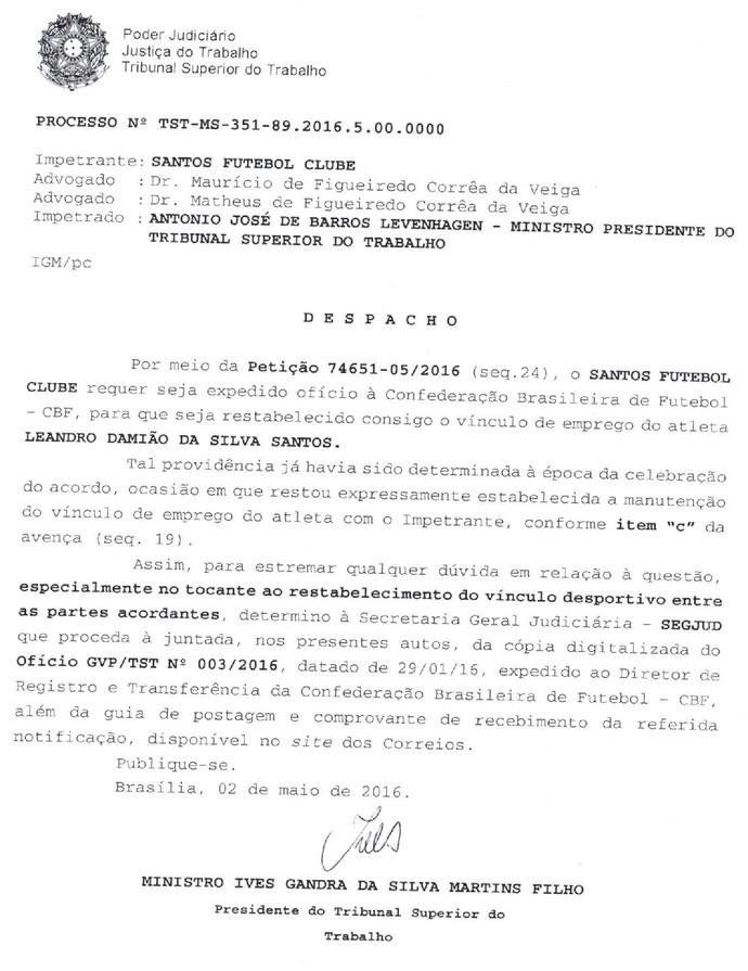 Despacho TST Santos Leandro Damião (Foto: Reprodução)