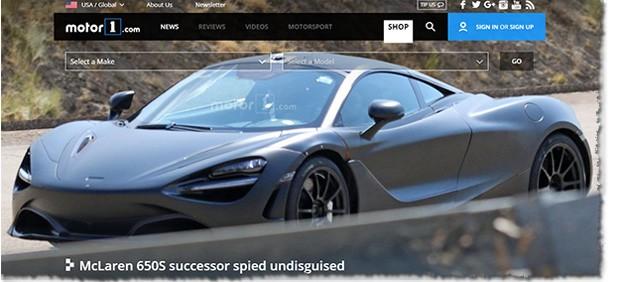 Nova McLaren flagrada em testes na Espanha (Foto: Reprodução/Motor1)