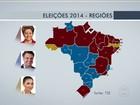 Candidatos à presidência têm desempenhos diferentes nas regiões
