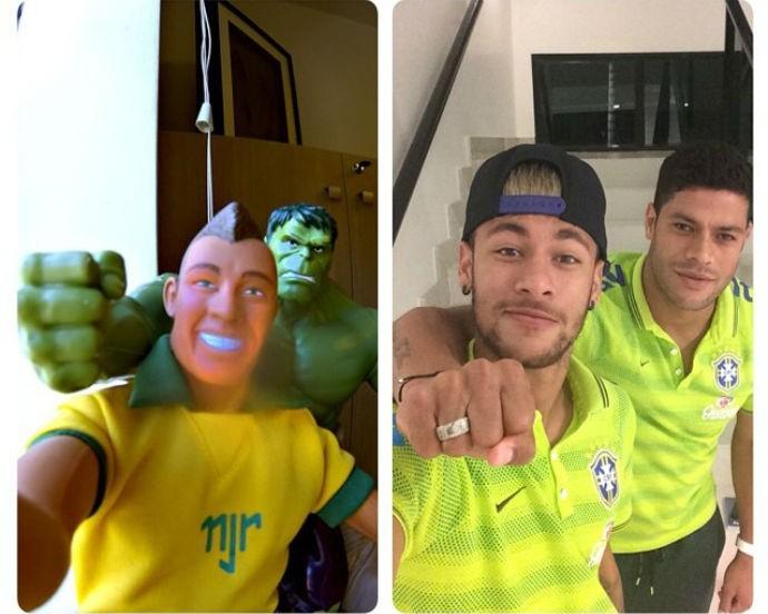 Neymar brinca com seu boneco e o do atacante Hulk (Foto   Reprodução Instagram 4654d97f67311