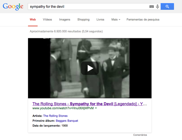 Busca por 'sympathy for the devil' mostra como resultado vídeo de fã no YouTube (Foto: Reprodução/YouTube)