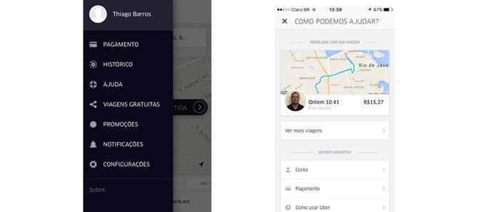 Abra o menu do Uber para pedir o reembolso  (Foto: Reprodução/Thiago Barros)