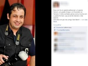 Amigos fazem homenagem ao fotógrafo romeno que estava há 3 anos no Brasil (Foto: Reprodução/ Facebook)
