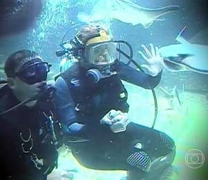 Grazi em mergulho quando era repórter do 'Caldeirão' (Foto: TV Globo)