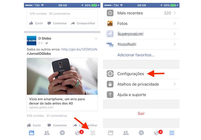 Acessando as configurações do Facebook no iPhone (Foto: Reprodução/Marvin Costa)
