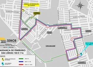 Mudança no itinerário dos ônibus (Foto: Divulgação/Semob)