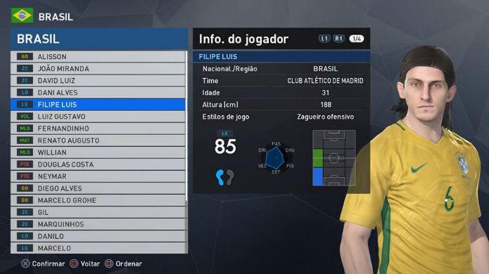 PES 2017: Filipe Luis está entre os melhores jogadores brasileiros do game (Foto: Reprodução/Thomas Schulze)