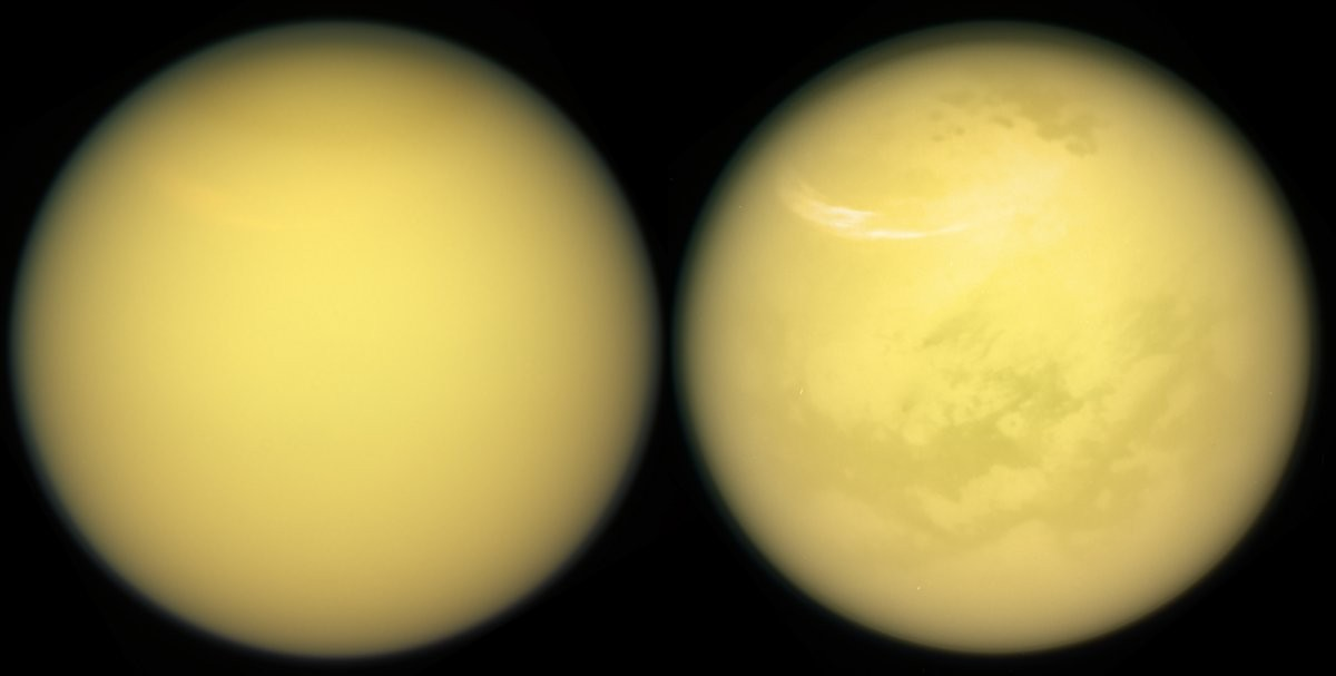 Duas novas visualizações de Titã mostram novos detalhes sobre a sua superfície, como nuvens e neblinas (Foto: NASA/JPL-Caltech/Space Science Institute)