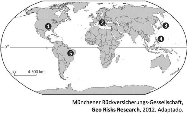 Mapa com locais suscetíveis a desastres (Foto: Reprodução/Fuvest)