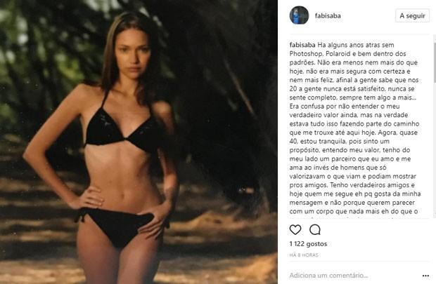 Fabiana Saba em clique antigo (Foto: Reprodução/Instagram)