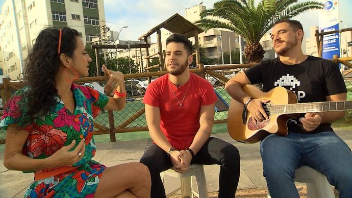 Maria Menezes bate um papo com Dan Valente e Rafael Lemos (Foto: TV Bahia)