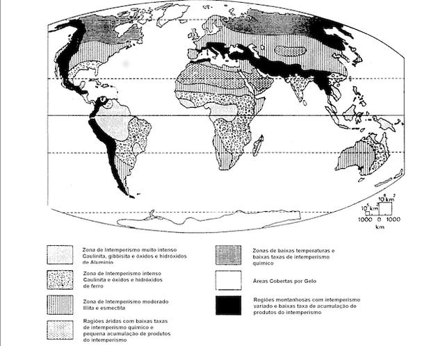 Mapa com zonas de intemperismo no mundo (Foto: Reprodução)