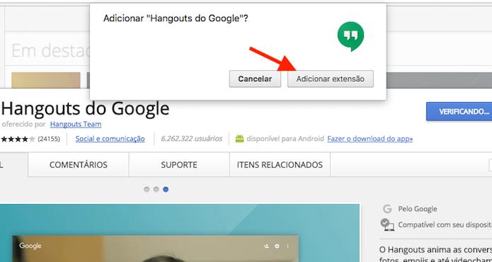 Instalação da extensão Google Hangouts para Google Chrome (Foto: Reprodução/Marvin Costa)
