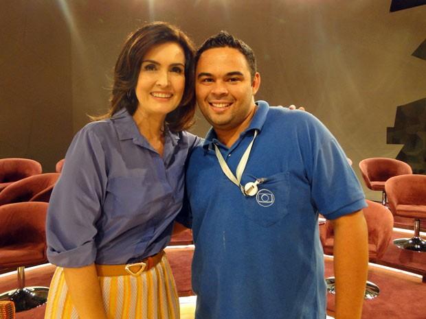 Fátima adorou imitação do contra-regra Felipe Aguiar (Foto: Encontro com Fátima Bernardes/TV Globo)