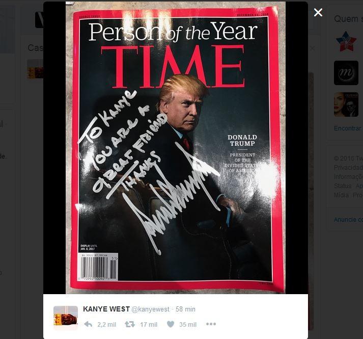 Kanye publicou foto do presente de Trump no Twitter (Foto: Reprodução)
