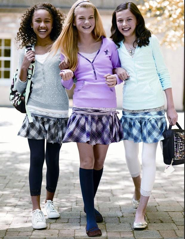Escolas dos EUA só permitem que meninas usem calça legging se colocarem uma saia por cima (Foto: Tween Brands/AP)