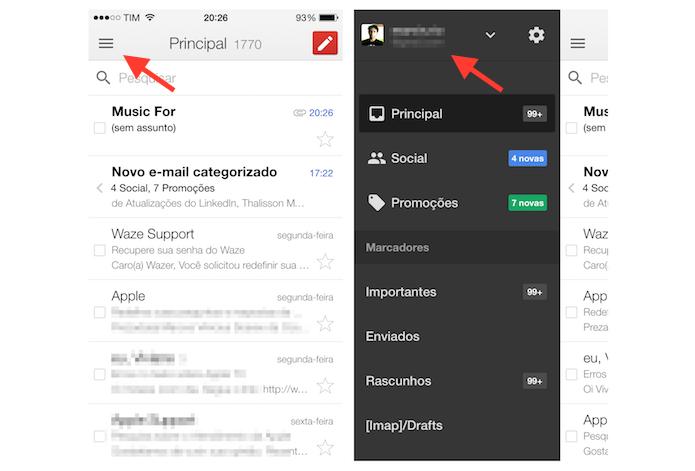 Acessando as configurações para uma conta do Gmail no iPhone (Foto: Reprodução/Marvin Costa)