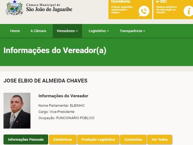 José Elbio de Almeida Chaves tinha 39 anos e era vereador em São João do Jaguaribe (Foto: Reprodução/Site da Câmara Municipal de São João do Jaguaribe)
