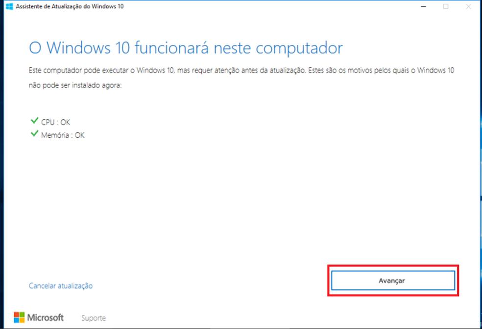 Iniciando a atualização via Assistente de Atualização do Windows 10 (Foto: Reprodução/Edivaldo Brito)