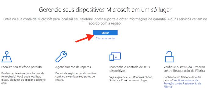 Acessando a página de login para o serviço de localização do Windows 10 Mobile (Foto: Reprodução/Marvin Costa)