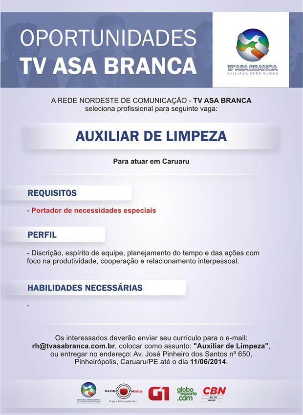 Vaga especial na TV Asa Branca (Foto: Divulgação/ TV Asa Branca)