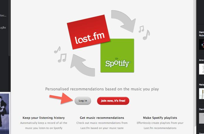 Iniciando login do Last.fm através da extensão para Spotify (Foto: Reprodução/Marvin Costa)
