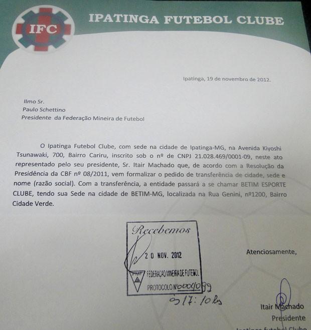 documento Ipatinga (Foto: Gabriel Medeiros / Globoesporte.com)