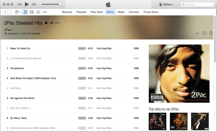 Faixa de 2Pac são bloqueadas pelo Apple Music por causa de letras polêmicas (Foto: Reprodução/Apple Music)