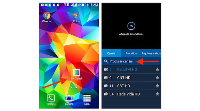 Sintonizando canais de TV no Galaxy Gran Prime (Foto: Reprodução/Marvin Costa)