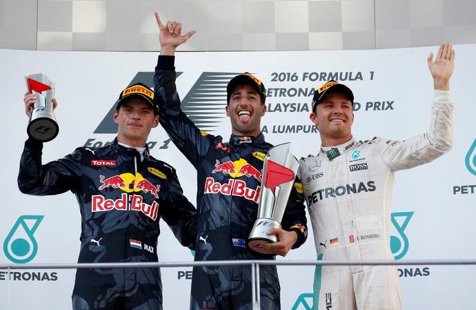Daniel Ricciardo, Max Verstappen e Nico Rosberg no pódio do GP da Malásia (Foto: AP)