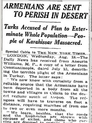 Trecho do jornal The New York Times de agosto de 1915 relata sobre o genocídio armênio (Foto: Reprodução/The New York Times)