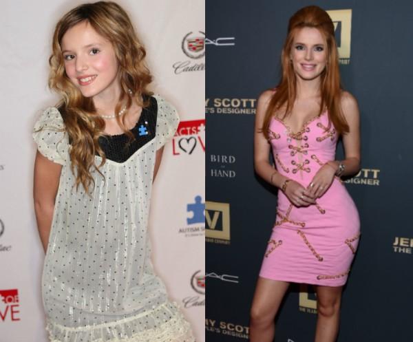 Bella Thorne aos 13 anos e hoje em dia (Foto: Getty Images)
