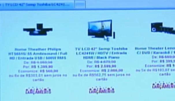 Site na internet oferecia produto mas, após pagamento, não enviava mercadoria (Foto: Reprodução / Rede Globo)